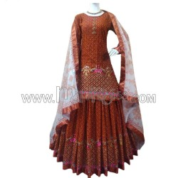 A  GEORGETTE WITH HEAVY EMBROIDERY WORK TOP WITH LEHENGA