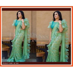 A SEQUENCE EMBROIDERED WORK WITH RUFFLE SAREE