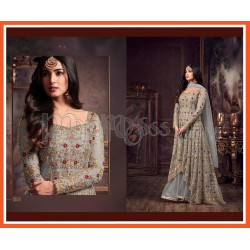 Net Embroidered Anarkali  Style Suit