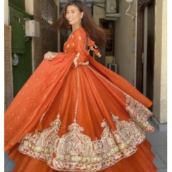HEAVY TAFFETA SILK WITH FULLY EMBROIDERY
