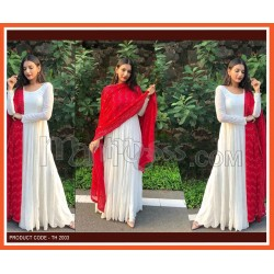 A RED DUPATTA WITH WHITE GOWN