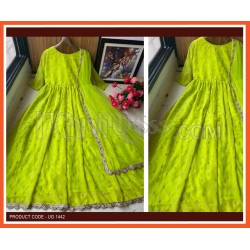 A LIGHT GREEN DESIGNER  EMBROIDERED ANARKALI GOWN