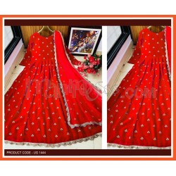 A RED DESIGNER EMBROIDERED ANARKALI GOWN