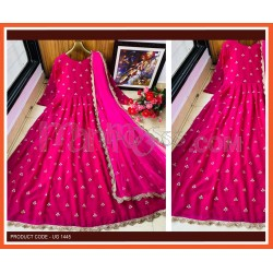 A DARK PINK DESIGNER EMBROIDERED ANARKALI GOWN