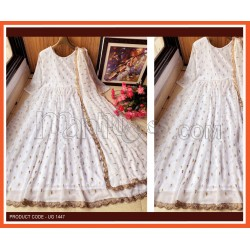 A OFF WHITE DESIGNER EMBROIDERED ANARKALI GOWN