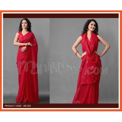 A Red Colour Sequence Work Saree