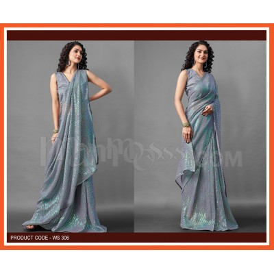 A Grey Colour Sequence Work Saree