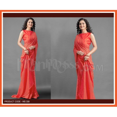 A Orange Colour Sequence Work Saree